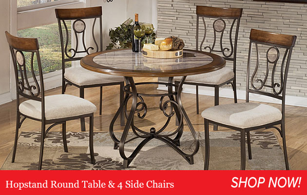 Hopstand Round Table & 4 Side Chairs